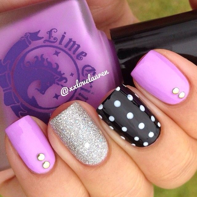 French pink, shiny silver and black & white nail combo
