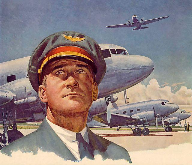 Sankarin katse > LENTÄMINEN - LENTOKONEET, LENTÄJÄT, LENTOEMÄNNÄT, MATKUSTAJAT     Kuvassa oikealla katselee vuonna 1943 taivaan sineen uljas lentokapteeni, vankkumattomana ja hyvin luotettavana. Hän näkee, että lentosää on mitä parhain - ja pian kaartaa kone korkealla hänen turvallisessa ohjauksessaan kohti kaukaisia maita.   travel