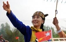 Campaigning in Lashio in traditional costume