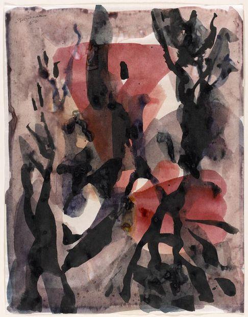 By Paul-Émile Borduas (1905-1960), 1950, Pavots de la nuit, color ink on wove paper.
