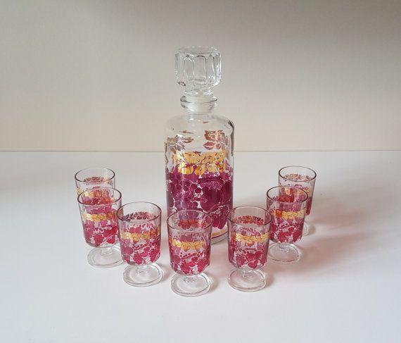 Vintage Decanter Set Made in France 7 Shot Glasses by RetroEnvy21