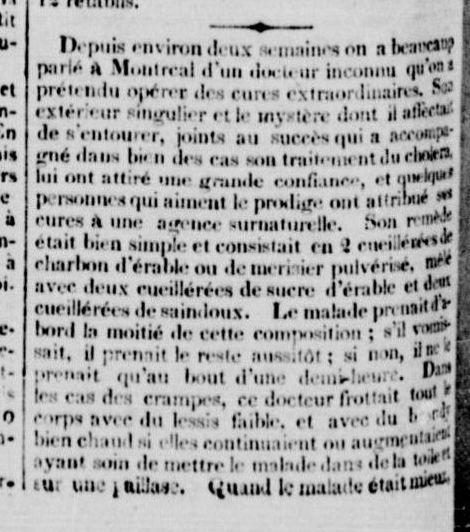 1832- Le journal le Canadien du 27 juin 1832, annonce un remède miracle contre le choléra, selon un médecin de cette époque.