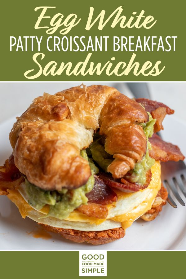 Jul 10, 2020 – This Egg White Patty Croissant Breakfast Sandwich is a must-have to start your day! A buttery croissant l…