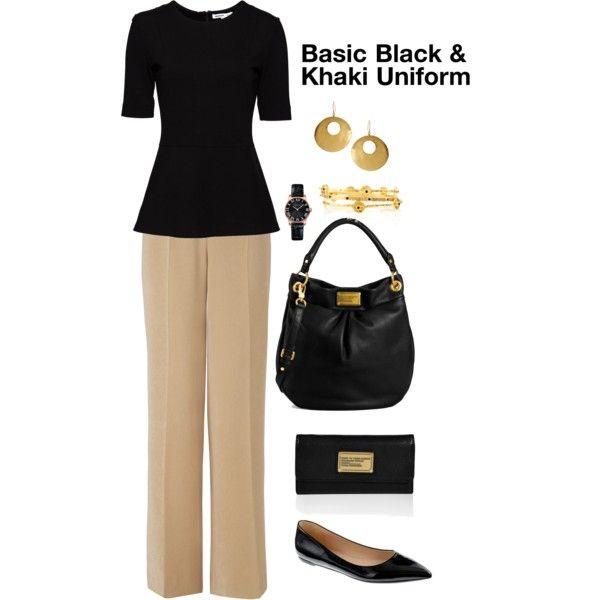 Basic Black & Khaki Uniform, created by pattigeorgeky