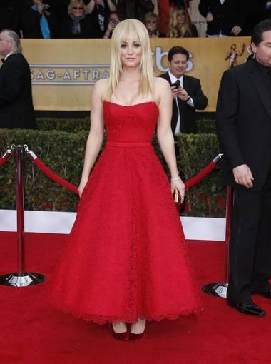 Kaley Cuoco: 'The Big Bang Theory' actress rocked a red dress by Romona Keveza.