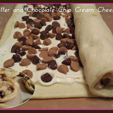 "1 can crescent rolls (pinch seams) 8 oz cream cheese room temp 1/3 C sugar 2 tsp vanilla ¾ C mix peanut butter & chocolate chips Beat sugar, cream cheese, vanilla. Unroll crescent roll sheet onto lightly floured surface & stretch to rectangle. Spread cheese mixture on crescent sheet, leaving ½"" side gap. Sprinkle chips on top and press lightly. Roll tightly, wrap, freeze 2 hours. Slice ¼"". Bake 350° 12-14 min."