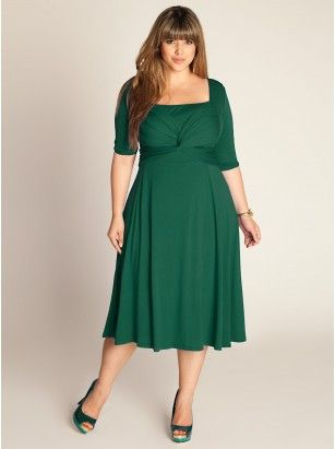 Tiffany Plus Size Dress shows as Hunter Green but it's move vibrant with a bluish undercast. Excellent with my red hair and blue eyes. Look at Day Dresses by IGIGI