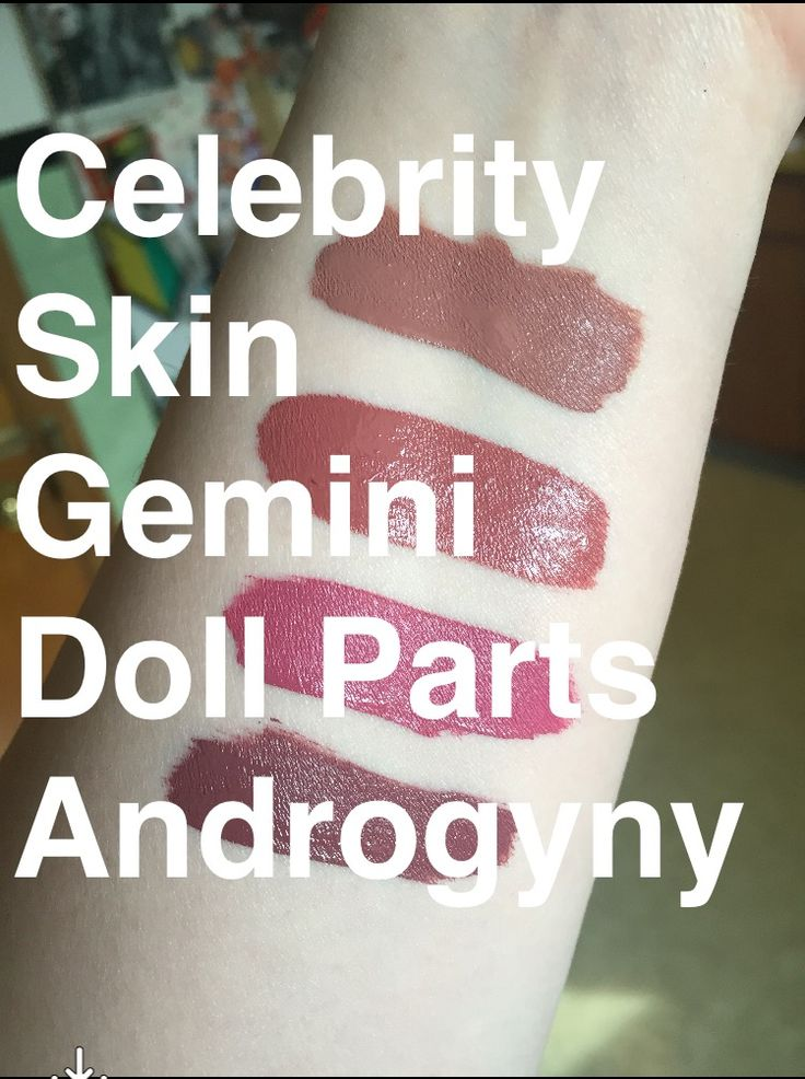 Swatches of Jeffree Star Gemini next to other JS Velour Liquid Lipsticks on NW15 skin