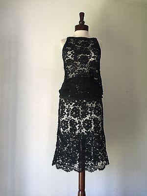 Exquisite Vintage SAINT LAURENT RIVE GAUCHE Black Skirt & Blouse Sz 2  | eBay