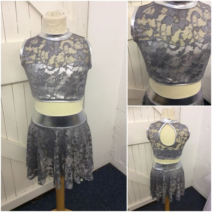 Silver lace and Lycra dance costume