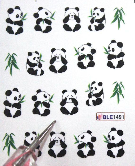 Buy 2 get 1 Free. Panda and Bamboo Nail decal by tigerlilies, $2.30