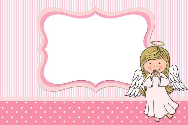 Moldura Convite E Cartao Batizado Para Meninas Anjinha Tarjetas