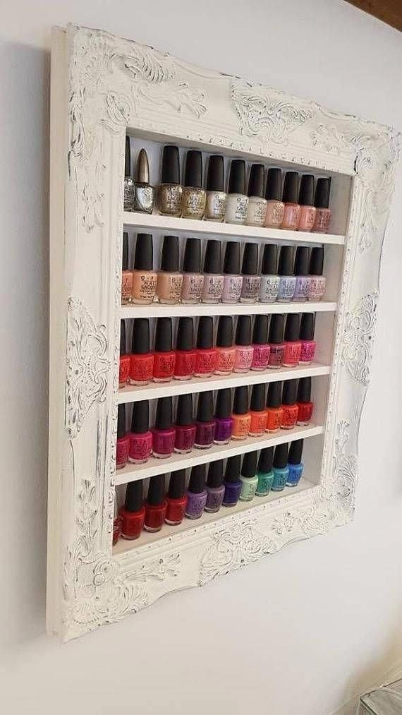 shabby chic nail polish organizer display rack nailpolishideas rh pinterest com