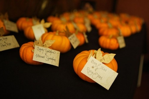 Pumpkin place card holders- so cute! Patrick Grimes Photography