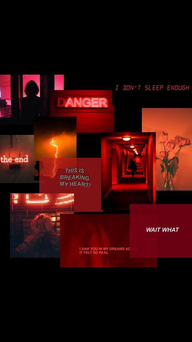 Red Collage Aesthetic Design Grunge Dark Anger Roses Heartbreak