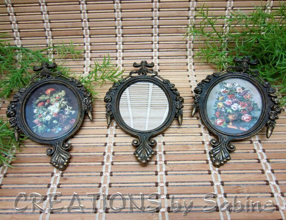 Ornate Picture Frames & Mirror Set of 3 Made in Italy Flowers Bouquet Oval Victorian Antique Bronze Metal Look Vintage FREE SHIPPING by CREATIONSbySabine