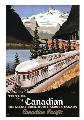 Vintage Canadian train travel poster.