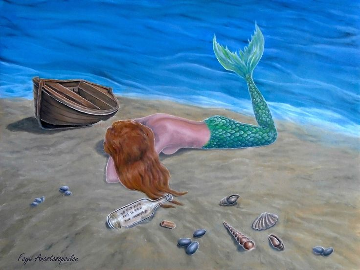 mermaid,painting,lying,fantasy,scene,seascape,coastal,sandy,beach,ashore,seaside,marine,nautical,mythical,creature,legendary,message in a bottle, shells,wooden,boat,aquatic,life,tail,fin,magical,nude,feminine,nostalgic,fish,lonely,moody,vivid,colroful,aqua,blue,beautiful,awesome,cool,unique,contemporary,realistic,figurative,fine,oil,wall,art,images,home,office,decor,artwork,modern,items,ideas,for sale,redbubble