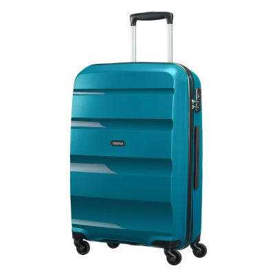 American Tourister 66cm Bon Air Spinner in teal. Take on the world with this super strong case.  www.zelows.com.au