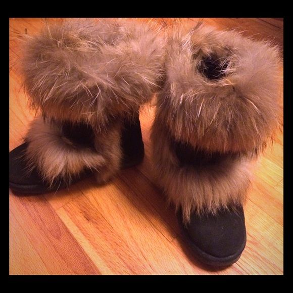 Fox fur Ugg boots Chestnut brown uggs with fox fur and sheep skin. These are SO soft and cushioned. I only wore them a few times. They are in great condition and look new! UGG Shoes Winter & Rain Boots