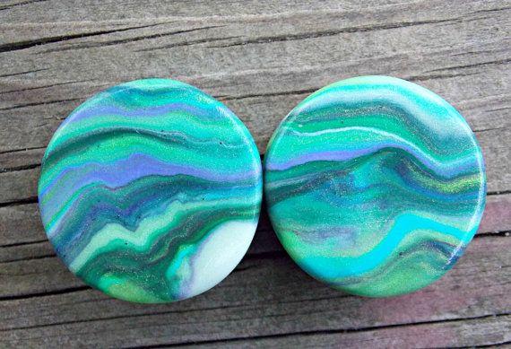 Custom Ear Plugs Polymer Clay Ear Gauges Glow por FateAndNecessity