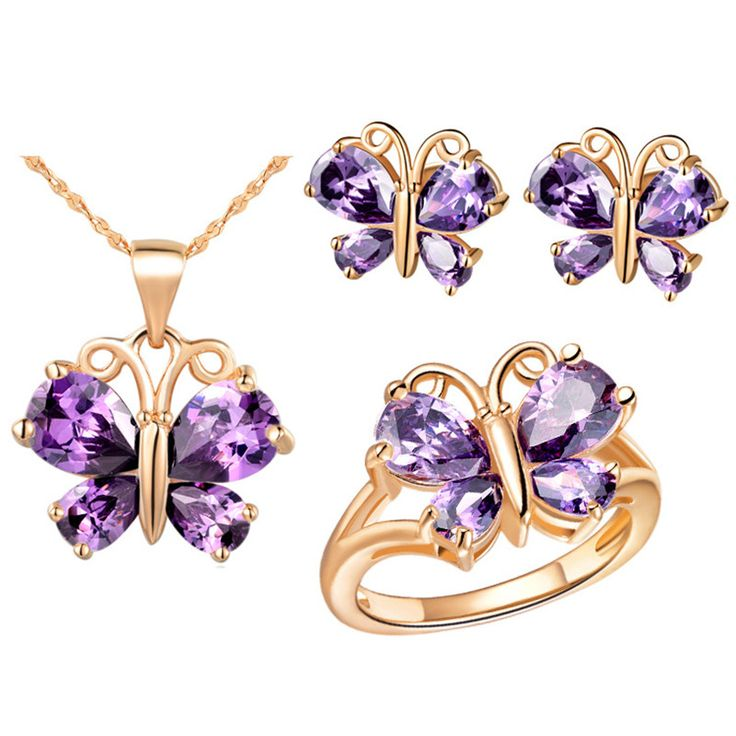Butterfly Lady and Girls Jewelry Sets Rose  Set Children Jewelry Austrian Purple Crystal Necklace Earrings Ring