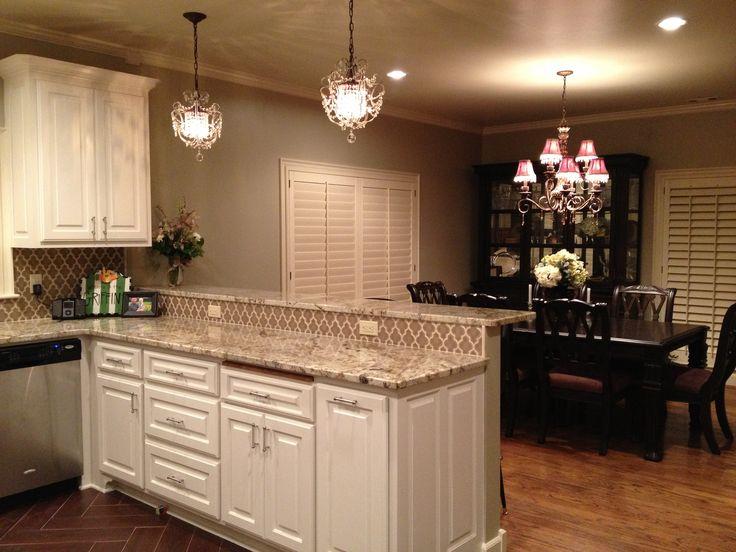 khaki, white cabinets, walker zanger ashbury vibe tile  Kitchen ideas
