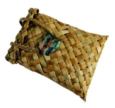 Beautiful kete with paua shell possibly made from phormium- new zealand flax
