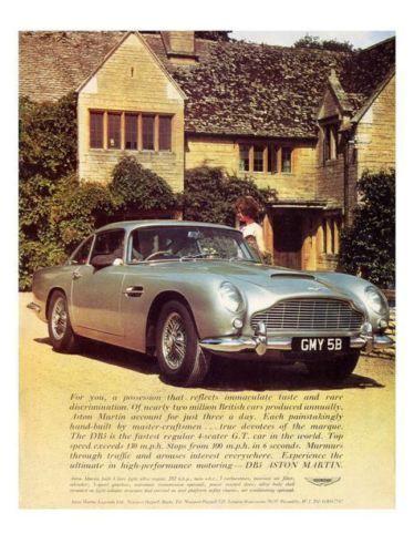 Aston Martin Db5 Car Advert Print 1960s Carsmechanic Pinterest