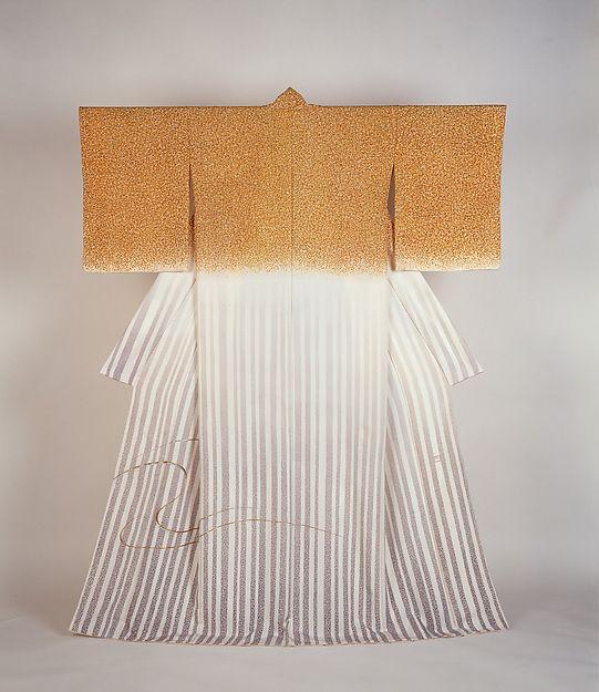 Japan, Kimono Rakuhoku, by Moriguchi Kakō, yuzen silk with embroidery, 1985