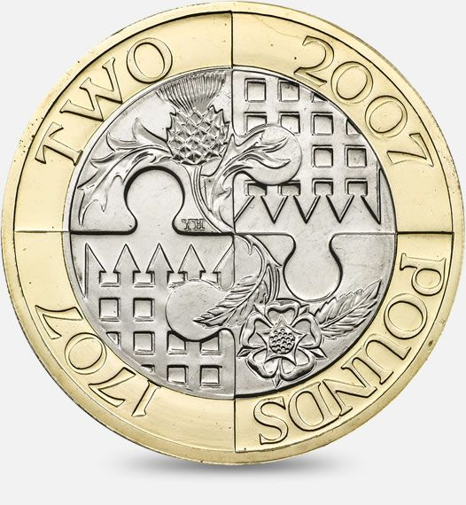 Tercentenary of the Act of Union between England and Scotland - 2007 http://www.royalmint.com/discover/uk-coins/coin-design-and-specifications/two-pound-coin/2007-act-of-union