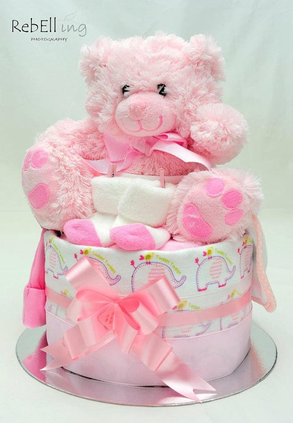 Pink Tones 1 Tier Nappy Cake  A beautiful gift for by Shelzybelzy