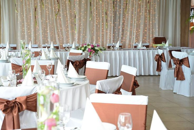 wedding decoration brown, bronze and white