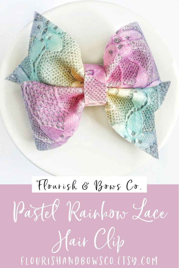 Pastel Rainbow Glitter Bows