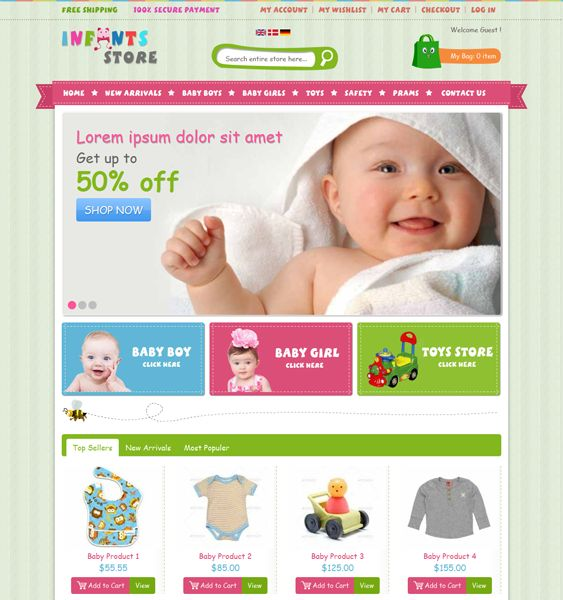 This Magento theme for babies has HTML5 and CSS3 code, a homepage image slider, product filtering by style, price, and color, a responsive layout, cross-browser compatibility, speed optimization, and more.