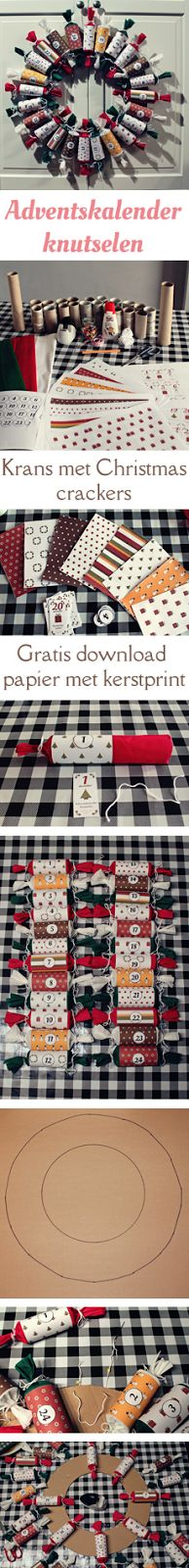 MizFlurry: Handleiding adventskalender knutselen: krans met Christmas crackers (2014) -  Stap voor stap handleiding om zelf deze krans met Christmas crackers te knutselen. Een adventskalender met activiteiten om af te tellen naar de Kerst. Sparen: 24 wc-rolletjes, kopen: wit, rood en groen crepe-papier, printen: dit leuke kerstpapier en de opdrachten.   www.mizflurry.nl #christmas #advent #calendar #DIY #tutorial