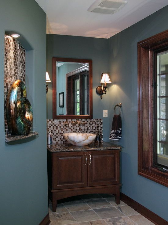 Decoration, Chic Deep Blue Wall Paint Color Traditional Powder Room With Brown Accent And Two White Shade Wall Lamps Next To Rectangle Woode...