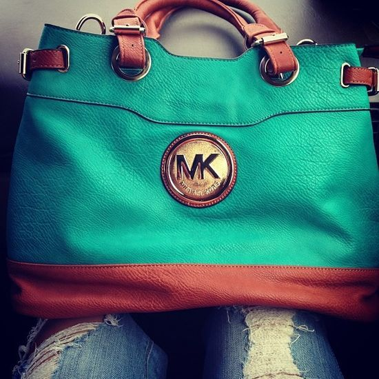 Leather tote..turquoise/brown beauty