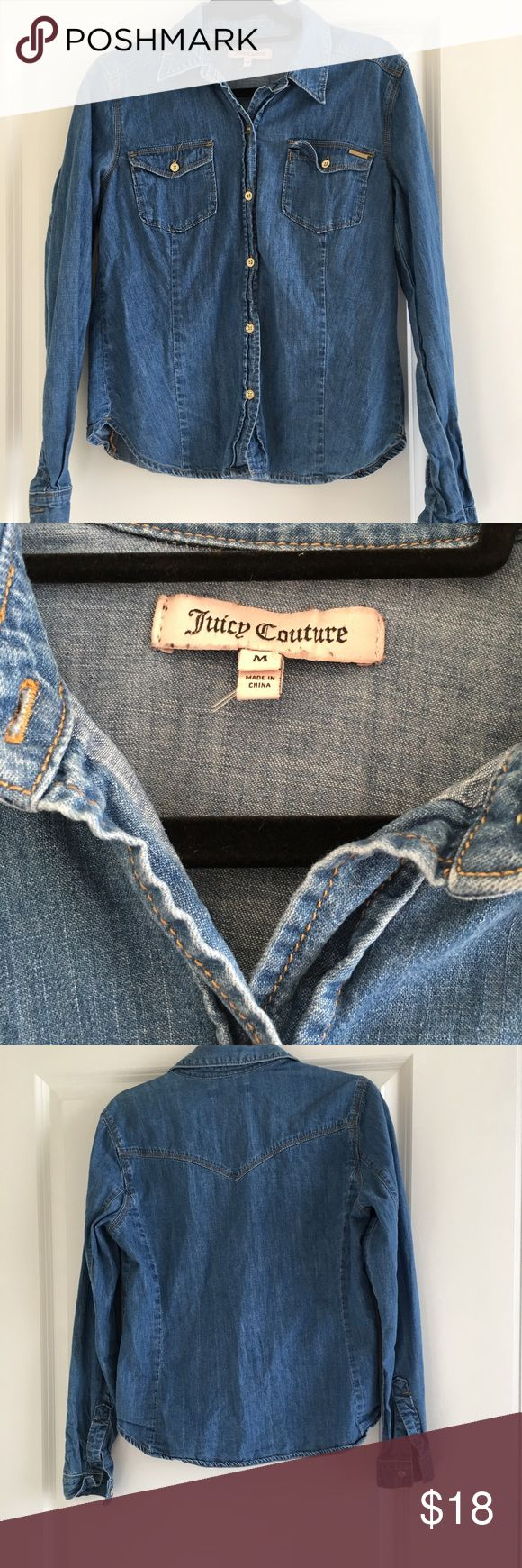 Juicy Couture Denim Long Sleeved Top Size M Juicy Couture Denim Long Sleeved Top Size M Juicy Couture Tops Button Down Shirts