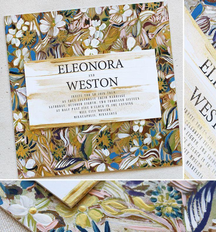Eleonora B. Wedding StationaryWedding InvitationFloral WeddingGold  LeafWhite FlowersHand Painted