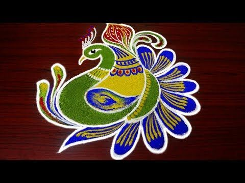 simple peacock rangoli designs for margazhi - latest and beautiful peacock kolam designs freehand - YouTube