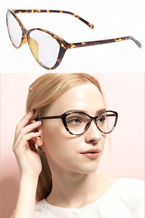 4b28a214802 Ladies Cateye Glasses Frames Blue Blocking Clear Lens Computer Reading  Glasses-5865(demi brown
