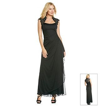 Dresses this long dress from xscape features dashing lace accents at