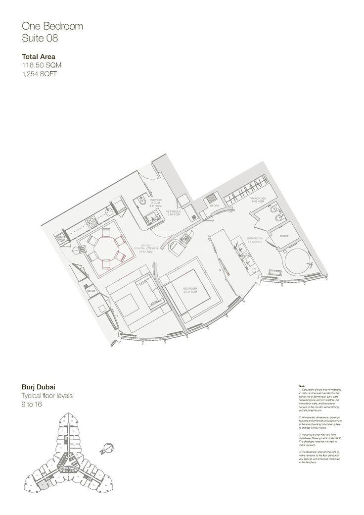 Armani Hotel Floor Plans - Burj Khalifa, Dubai.