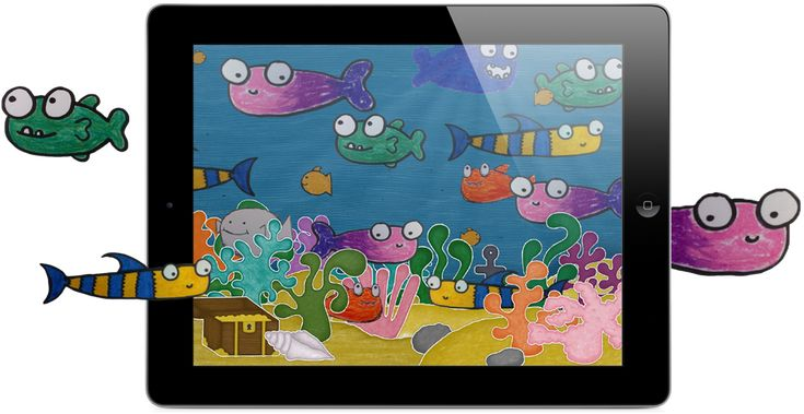 Preschool |Squiggle Fish :: Stripey Design :: iPad only :: Extend craft time by digitizing paper drawings. Grow narrative skills by telling stories after digitizing multiple fish to same underwater scene. Encourage collaboration and transmedia literacy. :: 3+