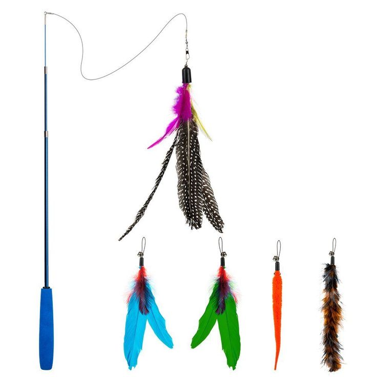 Feather Teaser Cat Toy Retractable Toy Wand With 5 Assorted Teasers Interactive  #Depets