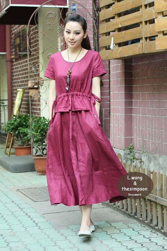 Dark Pink linen short sleeve sundress(more colour and size choice)