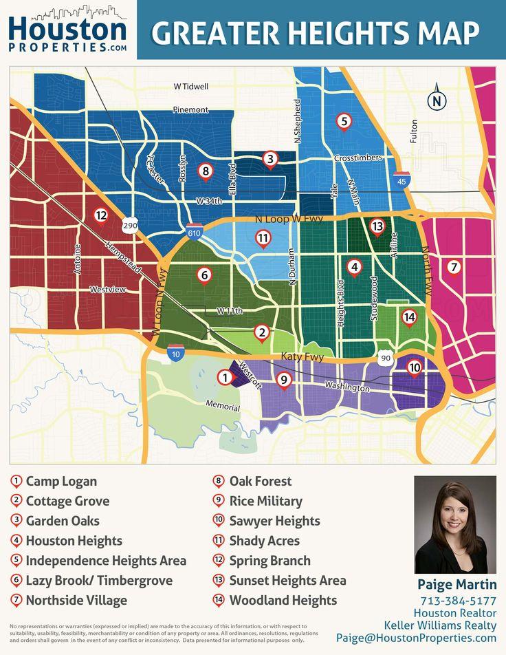 Greater Heights Houston Map, Neighborhood, Real Estate