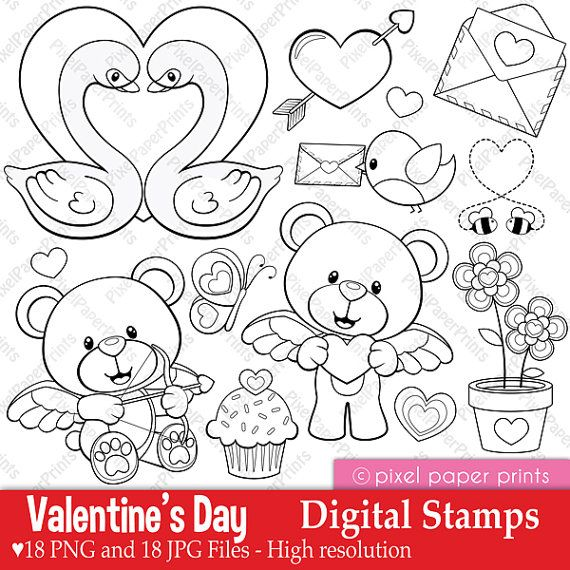 Valentinstag – digitale Briefmarken