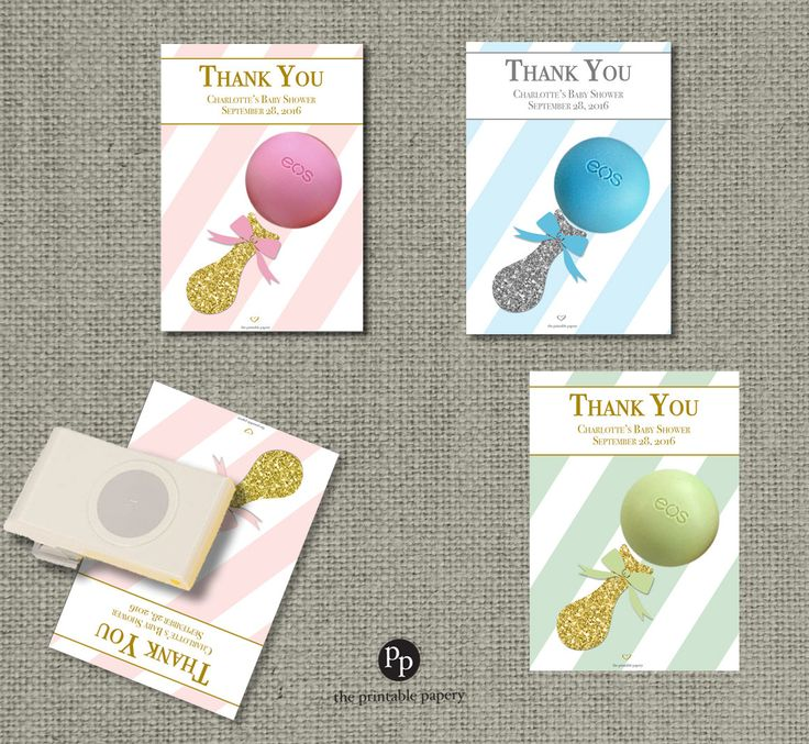 Attractive Pink U0026 Gold Or Silver Glitter Baby Shower Gift Tags For EOS Lip Balm | Thank
